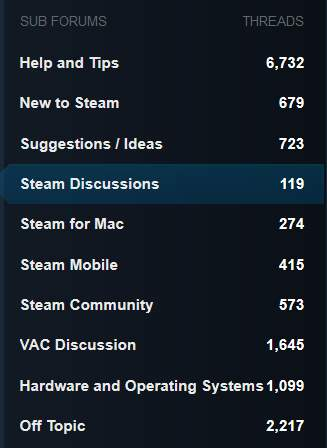 Steam's Main Discussion forums sorted into sub forums / categories making it easy for a user to navigate and find relevant information.