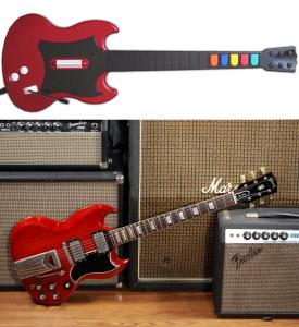 Guitar Hero II controller vs Cherry Red Gibson SG