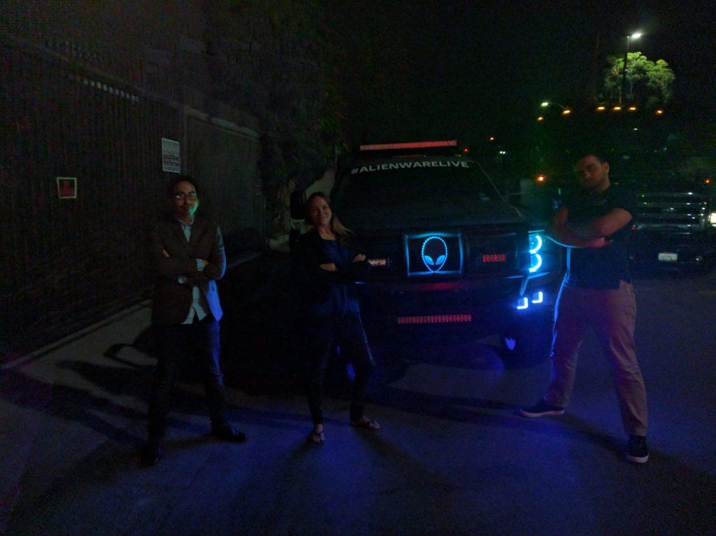 Daniel, Raquel and me at the Alienware party, E3 2016.