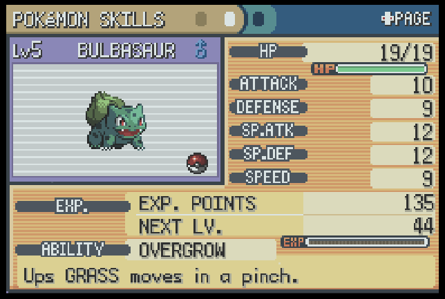 The Stat Card for Bulbasaur in Pokemon Fire Red (Screenshot taken from Pokemon Flame Red)