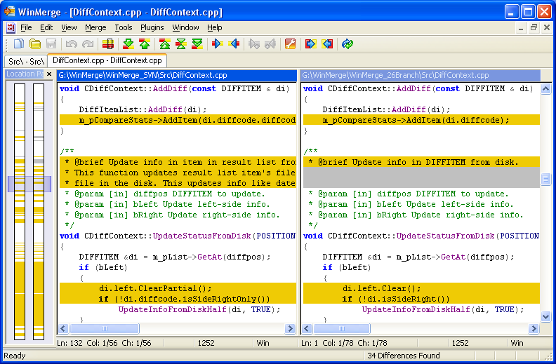 How WinMerge looks, each section is highlighted to tell the user what is different.