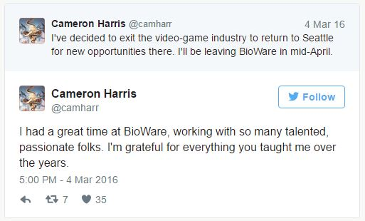 https://www.polygon.com/2016/3/7/11174148/cameron-harris-mass-effect-andromeda-senior-editor-bioware-exit
