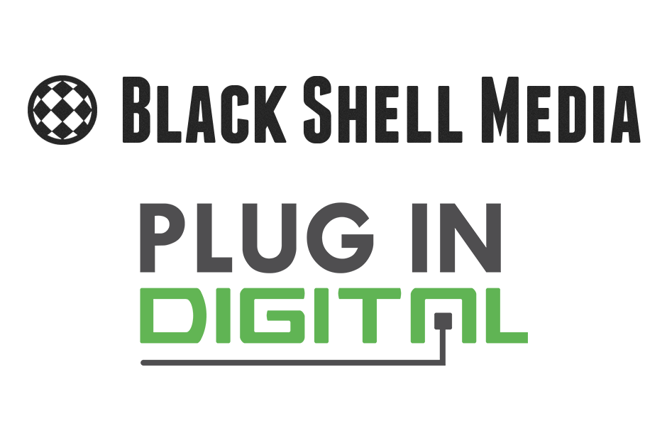 Logos of Black Shell Media and Plug In Digital